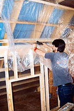 Photo of proper installation of vapor retarder