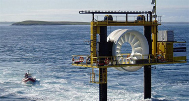 Photo of the Open-Center Turbine designed for deployment directly on the seabed, and the photo shows the top of the turbine structure, which is located above the ocean's surface