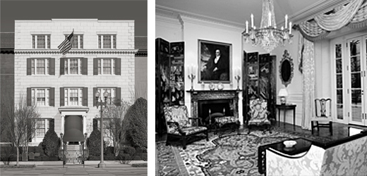 Side by side photos: left-Exterior photo of The Blair House, DC, and right-Interior parlor of The Blair House, DC