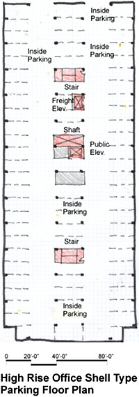 High rise office shell type parking floor plan