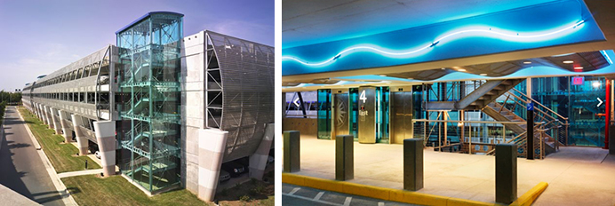 Side-by-size pictures of CDIA Daily Parking garage, Charlotte, North Carolina, left exterior and right interior