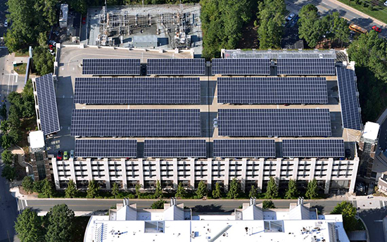 Duke's Research Drive seven-story parking garage featuring a solar panel system