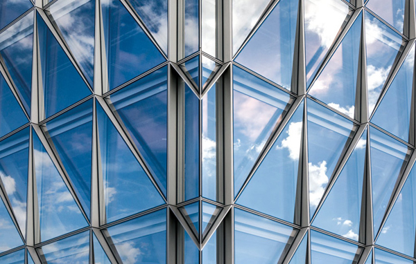 Close-up of triangular windows, JTI International Headquarters in Geneva, Switzerland