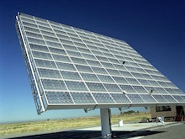 Photo of a photovoltaic tracking concentrator that is currently deployed at PVUSA in northern California