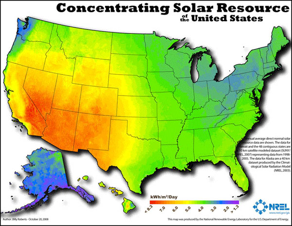 Map depicting concentrating solar resource of the United States