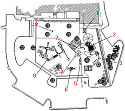 Numbered plan of Cary Woods Elementary School playground