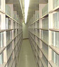 The John F. Kennedy Library's main stack area holding more than 12 million pages of the President's papers