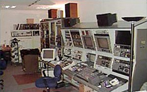 The audiovisual laboratory area at the John F. Kennedy Library and Museum featuring an editing console