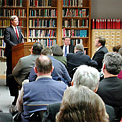 Photo of a presentation being given in the Herbert Hoover Library's research room
