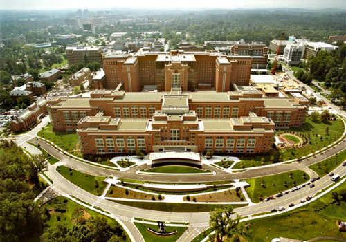 Aerial photo for The National Institutes of Health Clinical Center in Bethesda, Md.