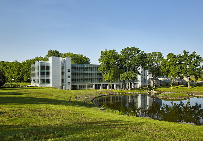 Exterior of the Saint Gobain CertainTeed North American Headquarters and the pond