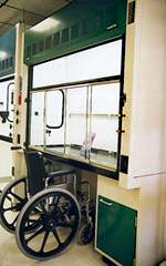 Photo of an ADA-compliant fume hood