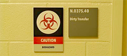 Biohazard warning sign outside of a laboratory