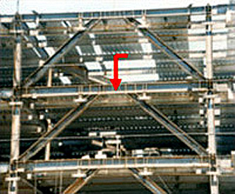 Example of Eccentric braced frame, with link beams