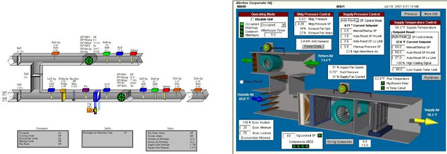 left Affilicated Engineers Inc. schreenshot and right Alterton screenshot of building management systems equipment