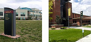 left photo: federal building campus with sign, grassy area, and buildings; right photo: exterior of large building with pedestrian walking paths, parking signs, and flag poles