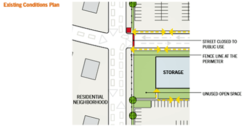 drawing of the security desgn problem in zone 1 for a federal building campus renovation in a suburban location