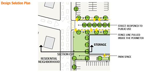 drawing of the design solution plan in zone 1 for a federal building campus renovation in a suburban location