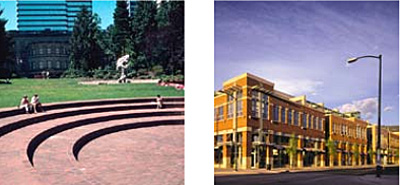 left photo: large curved steps integrated on a campus lawn with people sitting on them and buildings in the background; right photo: strett view of a downtown with architecturally prominent buildings along the sidewalks
