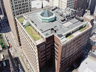 Aerial view of green roof atop the Heinz 57 Center