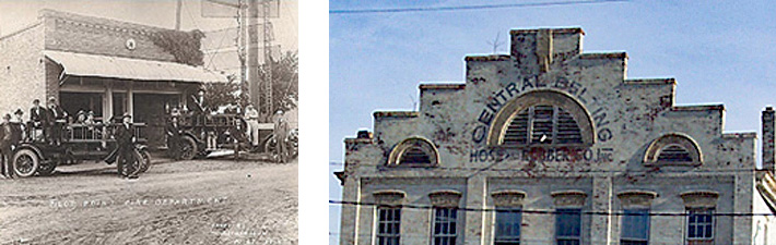 2 photots: on left is an old photograph of a firehouse with a giant awning, tractors parked out front, and men posing for the picture in Pilot Point, Texas, 1906; on the right is he front/top floor view of an ornate historic building with a 'stair step' top, and stone awning-like structures above the top widows. The words Central Belting Hose and Rubber are still visible around the main eyebrow window which along with side windows still have louvers in place.