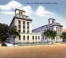 Colorized photograph of the U.S. Custom House in Denver, Colorado