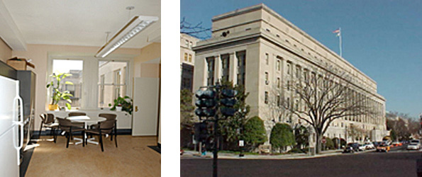 2 photos: on left is the interior view of a room in the Department of the Interior, Headquarters Building showing a refrigerator along the left, a large window at one end filled with plants, a round table and chairs in front of the window, and a hanging light fixture; on the right the exterior of the Department of the Interior, Headquarters Building, Washington, DC