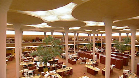 Interior of the Johnson Wax Administration Center's administration building features dentriform (tree-like) columns