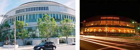 2 side-by-side photos of Davies Symphony Hall, San Francisco: left-at daytime and right-at night