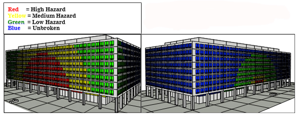 Sample output from detailed explosive analysis. The left image (glazing hazard in an existing facility) shows variances from high hazard, medium hazard, and low hazard. The right image (glazing hazard in an upgraded facility) shows the majority of the building as unbroken.