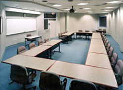 Classroom with U-shaped, tiered seating configuration