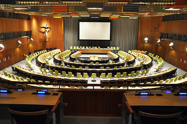 The General Assembly room at the UN.