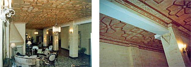 2 side by side photos: left-Interior view of late 1920's apartment building, Washington, and right-Close up of highly decorative ceiling in an apartment Building, Washington, DC (late 1920's). Both photos show a beam slightly elongated to accommodate sprinkler pipes and other systems