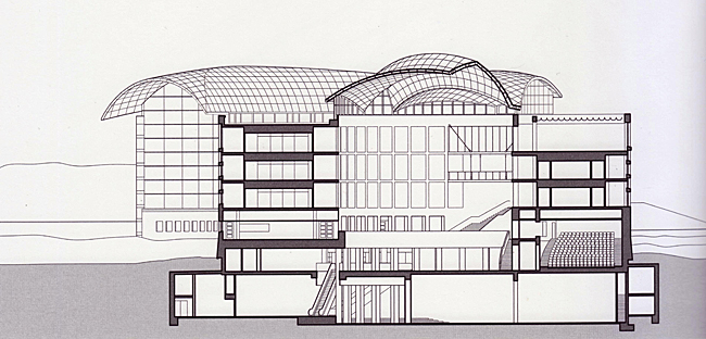 drawing of the Institute of Peace building, east-west section through the south atrium