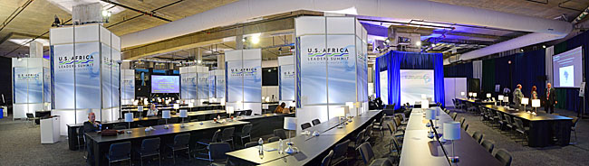 P2 level of the Institute of Peace transformed for use during the U.S.-Africa Leaders Summit