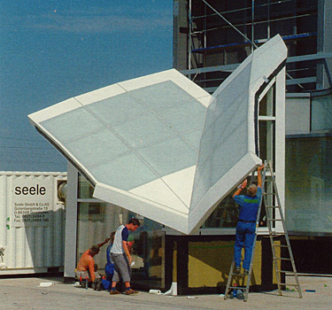 roof visual mock-up for the Institute of Peace constructed at Seele headquarters, Germany
