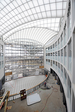 interior construction looking toward the roof structure, Institute of Peace, Washington DC