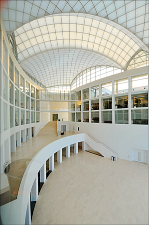 example of the extensive use of limstone flooring in the atria spaces of the Institue of Peace, Washington DC