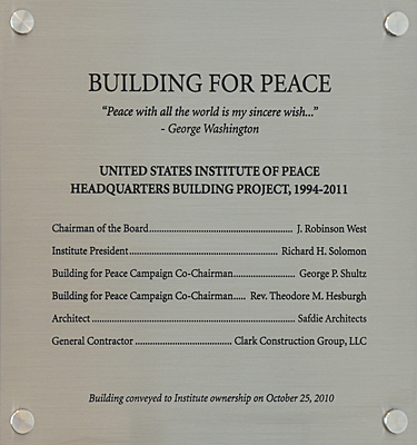 Building for Peace plaque