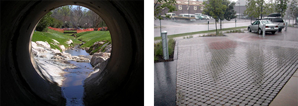 Left: Storm water drainpipe; Right: Permeable pavers in parking lot