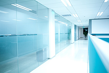 office interior glass filmed with decorative window film product