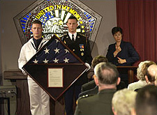Flag presentation during dedication of new stained glass window, Pentagon Chapel, September 11, 2003.
